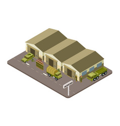 Military base with soldiers and military cars vector