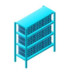 Mining farm rack icon isometric style vector