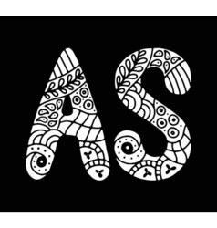 Mosaic hand drawn letter vector