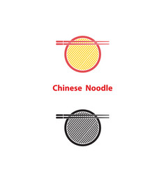 Noodle restaurant and food logo designchinese vector