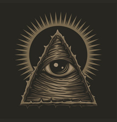 one eye illuminati vector image