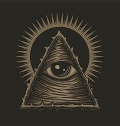One eye illuminati vector