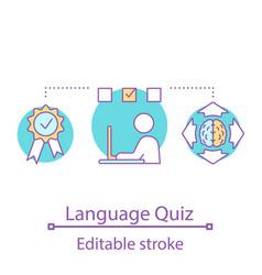 Online language test concept icon vector
