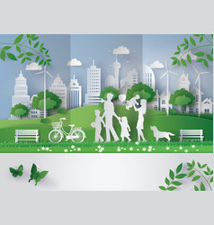 Paper cut of eco concept vector