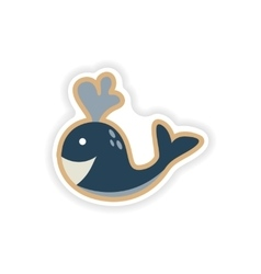 Paper sticker on white background whale smiles vector