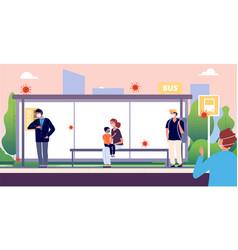 people on bus stop man woman kid wearing vector image