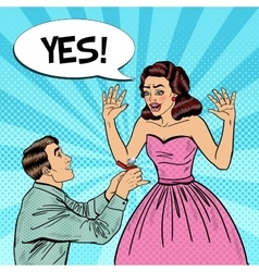 Pop Art Man Doing Marriage Proposal to Girlfriend vector