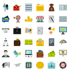 Presentation icons set flat style vector