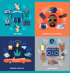 Rap music flat concept vector