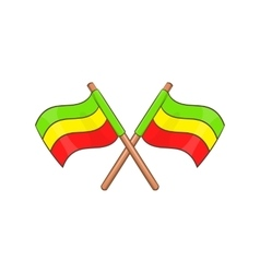 Rastafarian crossed flags icon cartoon style vector image