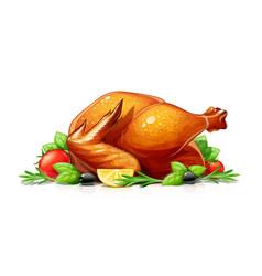 Roasted turkey christmas vector