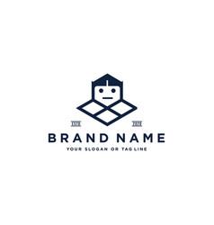 Robot cute logo design vector