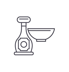 sauce in a bottle line icon concept sauce in a vector image
