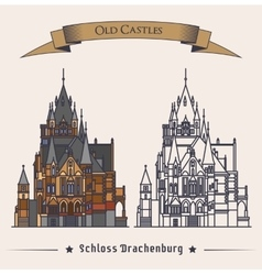 Schloss Drachenburg castle building konigswinter vector