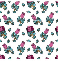 Seamless pattern with roses images vector