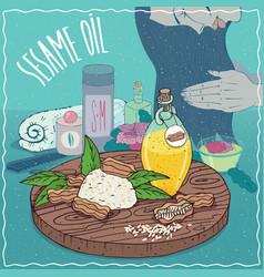 Sesame oil used for hair care vector
