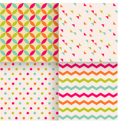 set abstract retro geometric seamless patterns vector image