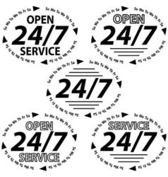 set logo 24 hours 7 days week vector image