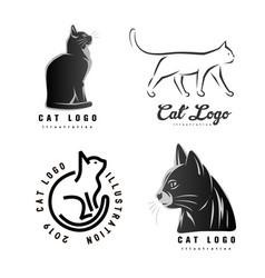 set logotypes cat vector image