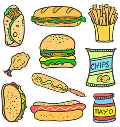 Set of food various doodles vector