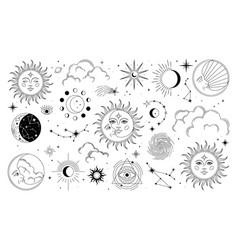 set sun moon stars clouds constellations vector image