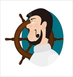 Ship captain with tobacco pipe sea-dog vector