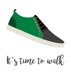 Shoes with text its time to walk vector