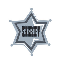silver sheriff star badge on a vector image