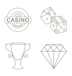 Simple set of gambling related line icons vector