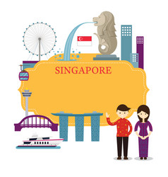 Singapore landmarks people in traditional vector