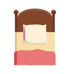 Single bed wooden pillow bedding vector