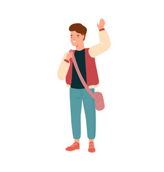 smiling teenage student waving hand happy pupil vector image