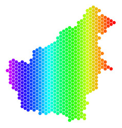 Spectrum hexagon borneo island map vector