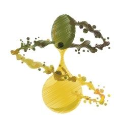 Splashing olive oil ripe graphic vector