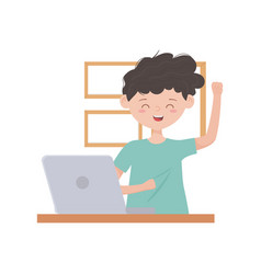 Stay at home happy boy with laptop in room vector