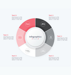 Stylish pie chart circle infographic template 6 vector