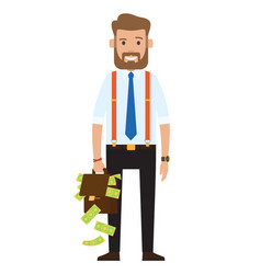 Successful rich businessman banker oligarch vector