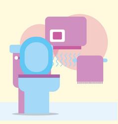 toilet hand dryer and towel hanging bathroom vector image
