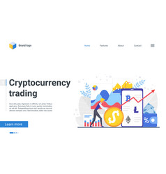 trade crypto currency landing page financial vector image