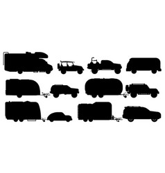 travel car set camping car silhouettes vector image