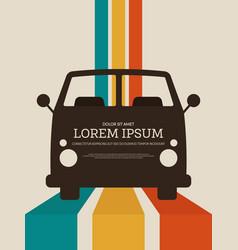 travel concept retro vintage car poster background vector image
