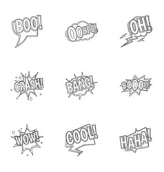 Trendy text icons set outline style vector