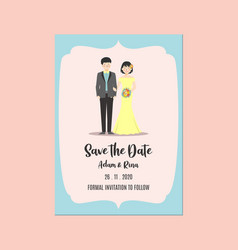 Wedding invitation save date template couple vector