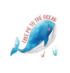 whale for t-shirt design vector image