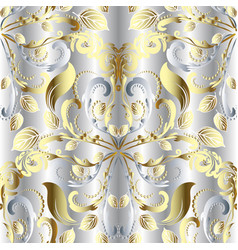 white vintage floral 3d seamless pattern silver vector image