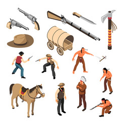 wild west isometric set vector image