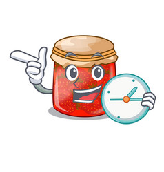 With clock strawberry marmalade in glass jar of vector
