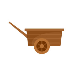 Wood wheelbarrow icon flat style vector