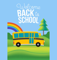 yellow school bus on road nature background vector image