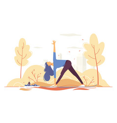 Young girl doing yoga in a park on city background vector